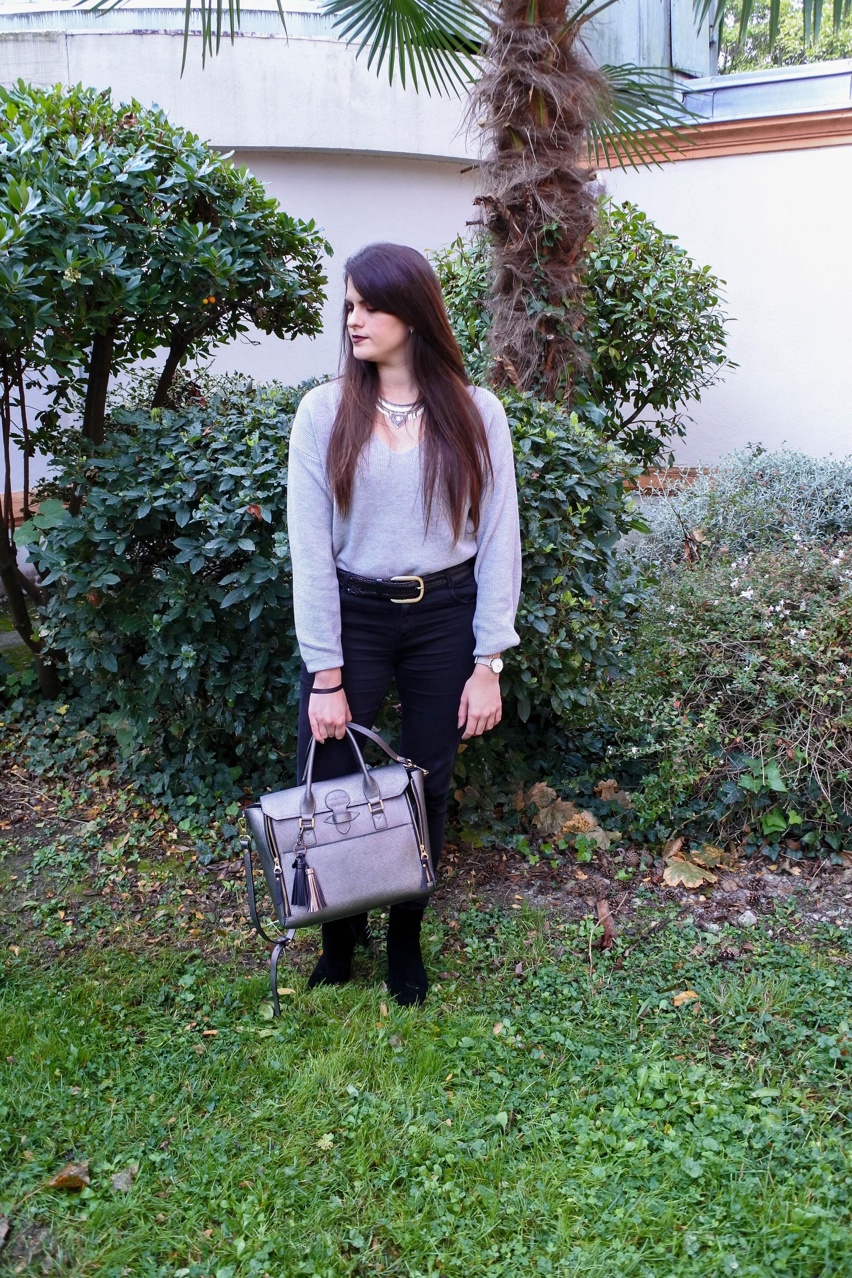 Manteau bordeaux & sac métallisé look tendance clémence blog mode toulouse